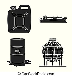 Vector illustration of oil and gas icon. Set of oil and...