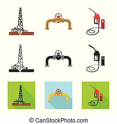 Vector illustration of oil and gas symbol. Collection of oil...