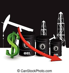 Vector illustration of oil barrel with red arrow