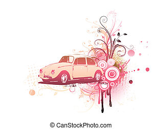 Vector illustration of old custom Volkswagen Beatle on the Grunge Floral Decorative background