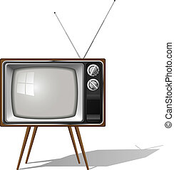 Vector illustration of old-fashioned four legged TV set...