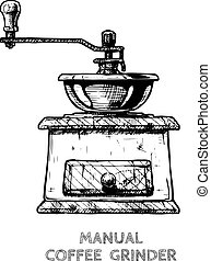 Vector illustration of old fashioned manual burr mill coffee grinder in ink hand drawn style. isolated on white.