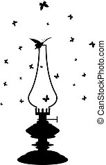 kerosene lamp - vector illustration of old kerosene lamp in...