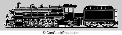 Vector illustration of old locomotive. Black silhouette on white.