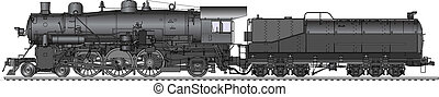 Vector illustration of old locomotive