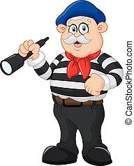 old man holding binocular