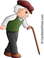 Old man walking with a cane - Vector illustration of Old man...