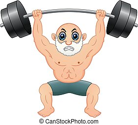 Old man weightlifting