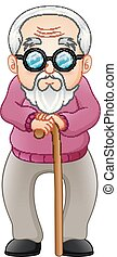 Old man with walking stick - Vector illustration of Old man...