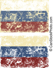 Vector illustration of old scratched flags of Russia