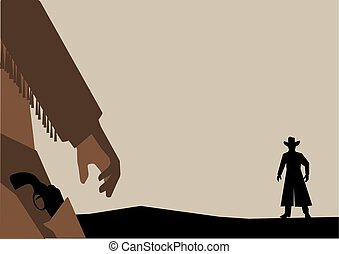 Vector illustration of Old West Gunfight or Duel - Hand ...