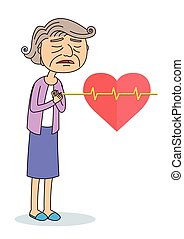 Vector Illustration of Old women having Chest Pain, Heart Burn, Heart Attack Cartoon Character