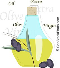 Vector illustration of olive oil bottle with olives.