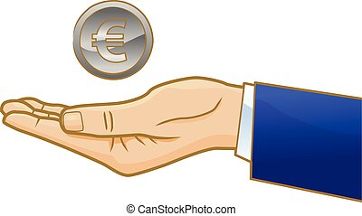 Euro coin on businessman's hand