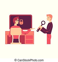 Vector illustration of one man giving to another key to access computer.
