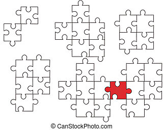 vector illustration of one red and some white puzzle pieces