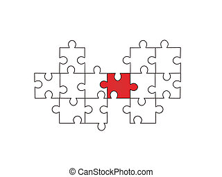puzzle pieces - vector illustration of one red and some...