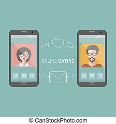 Vector illustration of online dating man and woman app icons in flat style.