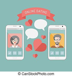 Vector illustration of online dating man and woman app icons on mobile phone displays with speech bubbles in flat style