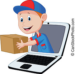 Online delivery cartoon - Vector illustration of Online ...