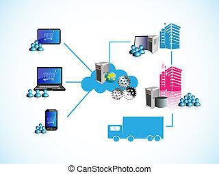 Vector Illustration of Online Order management system workflow