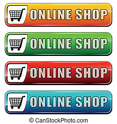 online shop buttons - vector illustration of online shop...