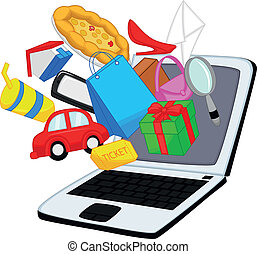 Online shopping cartoon - Vector illustration of Online...