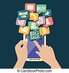 online shopping flat design - vector illustration of online ...
