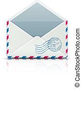 open blank airmail envelope