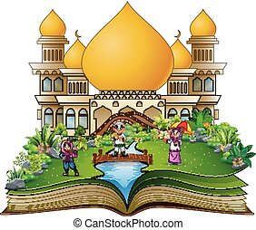 Open book with a group of muslim people in the front islamic mosque