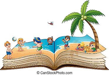 Open book with group of people vacation on a beautiful tropical beach