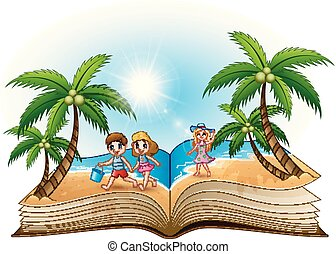 Open book with happy children on the beach