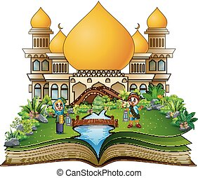 Open book with happy muslim boy and girl cartoon holding lantern in front of a mosque