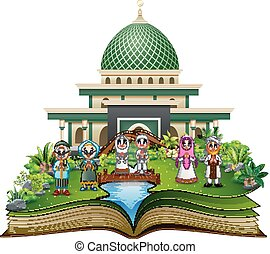 Open book with Happy Muslim Family Greeting in front of a mosque