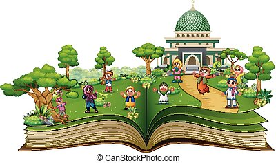 Open book with Happy Muslim Kids in front of a mosque