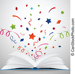 open book with ribbon - Vector Illustration of open book...