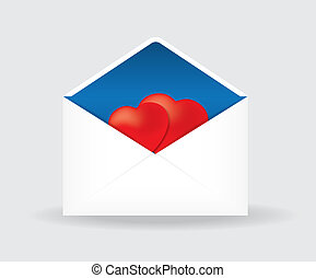 open postal envelope with two hearts