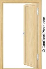 Vector illustration of open wood door