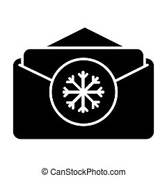 Vector illustration of opened envelope with greeting card for Christmas