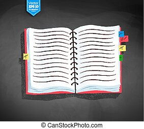 Vector illustration of opened school notebook