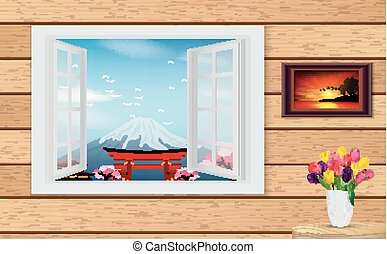 Opened wooden window and view