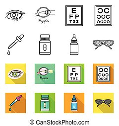 Vector illustration of optometry and medicine icon. Collection of optometry and diagnostic stock symbol for web.