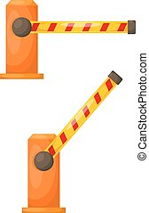 Vector illustration of orange barrier on a white background. Cartoon electronic barrier,
