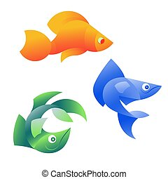 Vector illustration of orange, blue and green fish on white background. It can be used for the logo, icon, decoration for brochure, print on clothes, cover, card. Seafood business concept.
