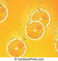 Orange Fruits falling in liquid