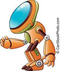 Orange robot cartoon isolated on white background