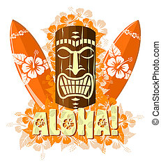 Vector illustration of orange tiki mask with surf boards, ...