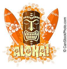 Vector illustration of orange tiki mask with surf boards,...