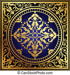 Vector illustration of oriental blue & gold rug