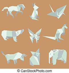 Origami animals  vector 3d paper japanese animal set